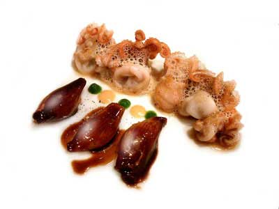 Baby octopus and shallots with cocoa and mint (2004)
