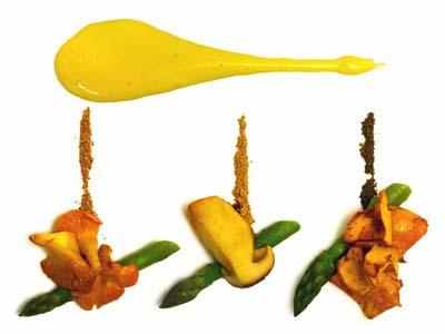 Espárragos y setas con salsa holandesa de setas (2004)