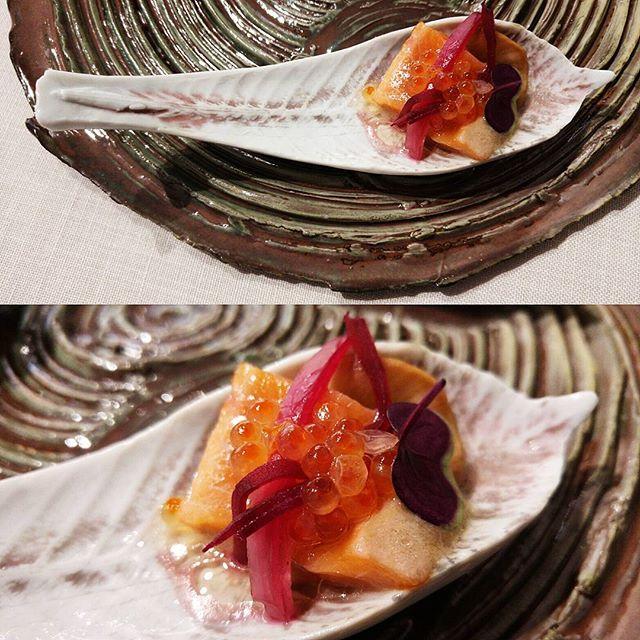 Trucha de Cuenca en escabeche rojo, encurtidos y fermentados