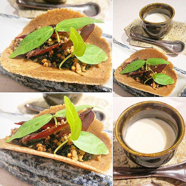 Taco de castaña con guiso de ciervo al huitlacoche, crema agria de cereales, mij