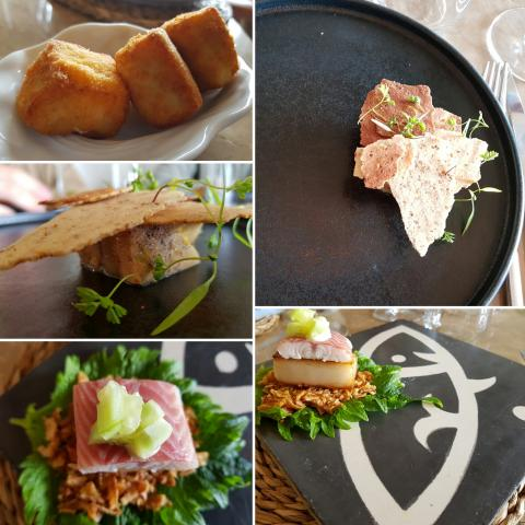 Croqueta/Foie, boniato y anguila/Taco de hoja de shisho con panceta, anguila ahu