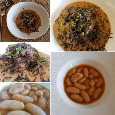 Colmenillas a la crema y trufa/Fabes estofadas con verduras
