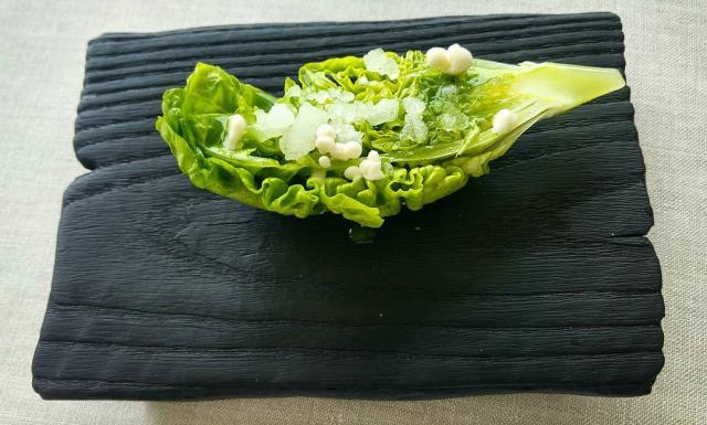 Cogollo tierno y jugo de las verduras del salpicón