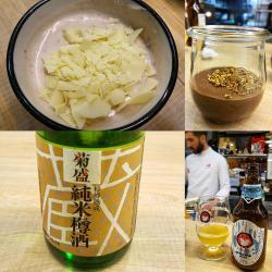 Mousse de Chocolate infusionado en Hojicha/ Yogur de Azuki y Chocolate blanco