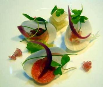 Mackerel Marinated Into Miso, Raw Turnip, Onión and Grapefruit