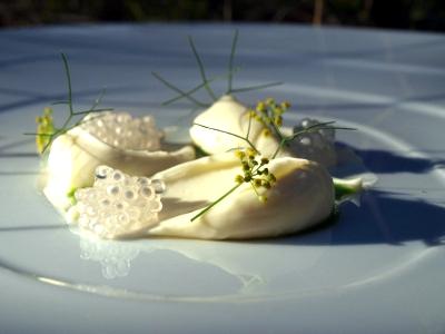 Crema  Láctea y Tapioca Cocinada en un Caldo de Mejillones