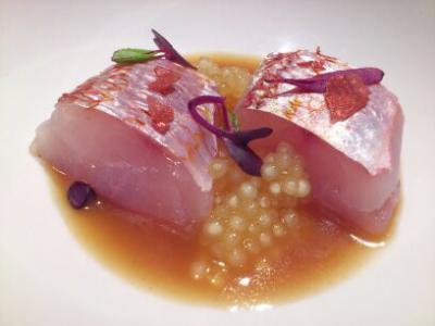 Salmonete de Roca con su Sopa y Tapioca Marinera
