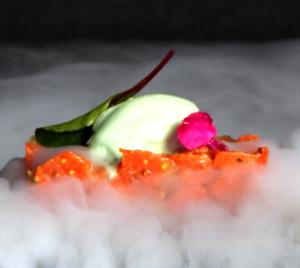 Tartar de Salmón Rojo de Alaska con Aguacate y Helado de Pepino e Hinojo