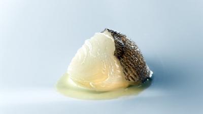 Cebolla Blanca Dulce con Caldo de Bacalao y Pimiento Verde