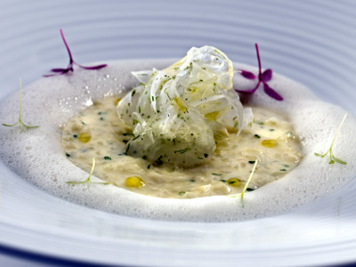 Raw fennel pearls, risotto and emulsion