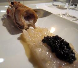 Lasaña de cigalas con caviar