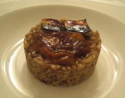 Arroz con erizos y sardinas